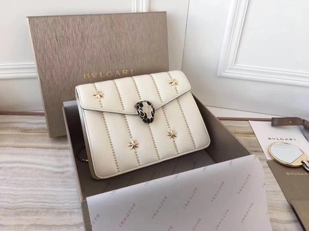 BVLGARI Serpenti Forever Original Calfskin Leather Shoulder Bag 3789 Offwhite