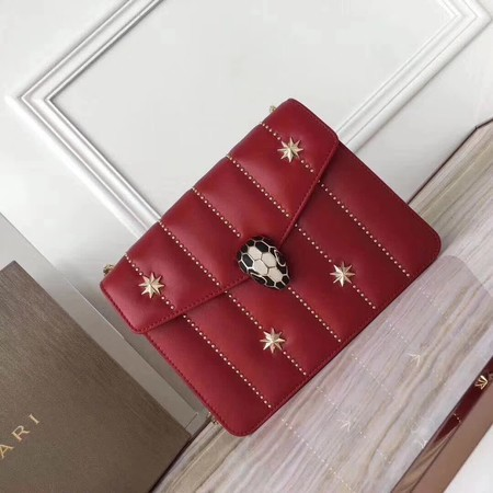 BVLGARI Serpenti Forever Original Calfskin Leather Shoulder Bag 3789 Red