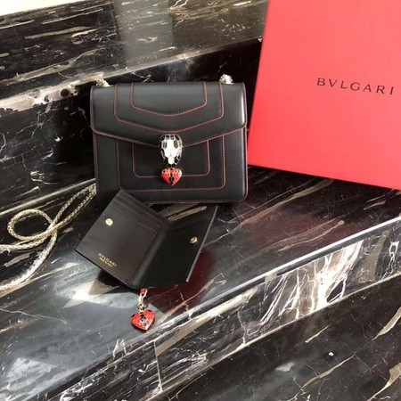 BVLGARI Forever Serpenti In Love Shoulder Bag Calfskin Leather BG90031 Black