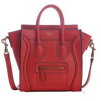 New Color Celine Luggage Mini Bags 165213MBA in Cherry Original Leather