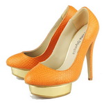 Charlotte Olympia Dolly Golden Platform Snakeskin Pump Orange