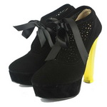 Charlotte Olympia Suede Yellow Heels Ankle Boots Black