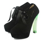 Charlotte Olympia Suede Green Heels Ankle Boots Black
