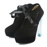 Charlotte Olympia Suede Blue Heels Ankle Boots Black