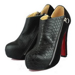 Christian Louboutin Python Suede Ankle Boots Black