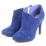 Christian Louboutin Suede Lisee Side Dip Booties Blue