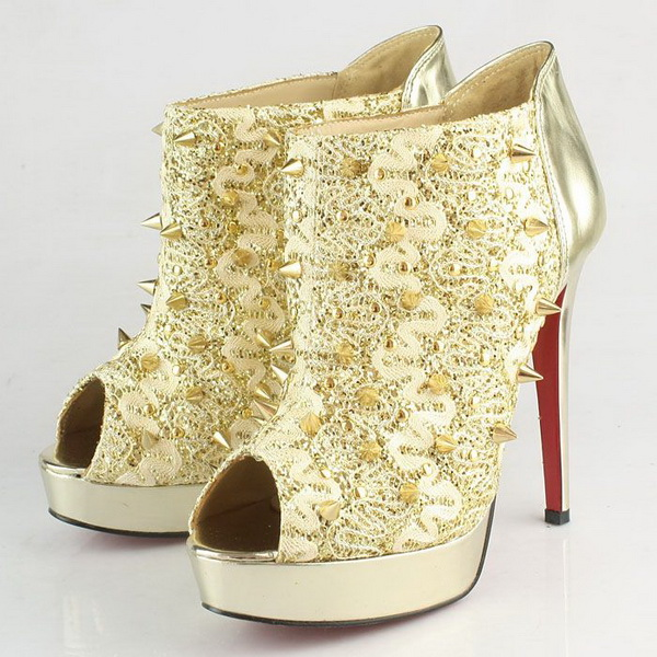 Christian Louboutin Pigalle Spikes Studded Peep-Toe Ankle Boots CL9777 Golden