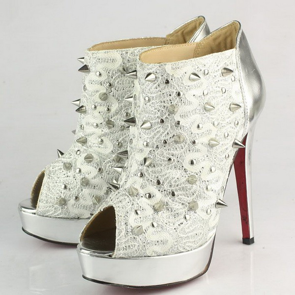 Christian Louboutin Pigalle Spikes Studded Peep-Toe Ankle Boots CL9777 Silver