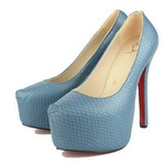 Christian Louboutin Python Daffodile Red Sole Pumps Blue