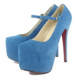 Christian Louboutin Mary Jane Daffodile Suede Platform Pumps Blue