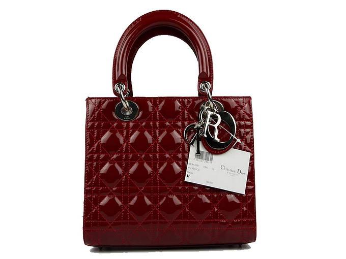 Las Dior Patent Bags Lady Bag Cal44550 Wine Silver