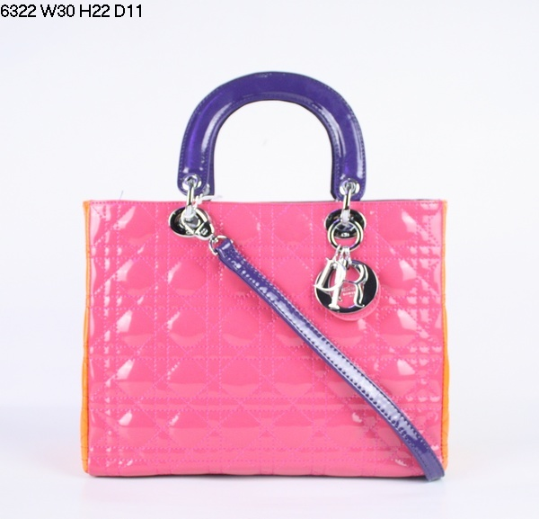 Christian Lady Dior Pink Patent Leather Bag 6322 Purple handle