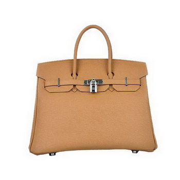Hermes Birkin 35CM Light Coffee Saffiano Leather Tote Bag Silver