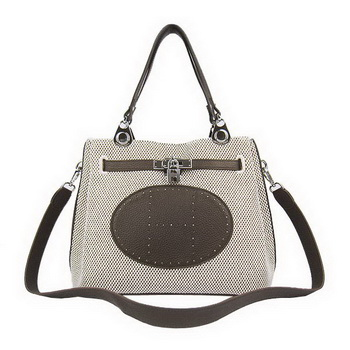 Hermes Mini So Kelly 30CM Bag Brown Canvas H60668 Silver