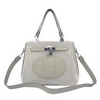 Hermes Mini So Kelly 30CM Bag Grey Canvas H60668 Silver