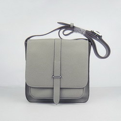 Hermes Gray Cow Leather Messenger Bags H2811