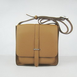 Hermes Light-Coffee Cow Leather Messenger Bags H2811
