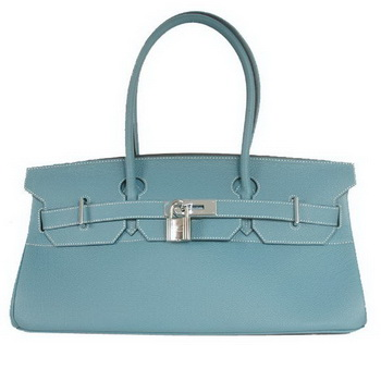 Hermes Birkin 42cm JPG Birkin Togo Leather Blue Bag Silver Hardware