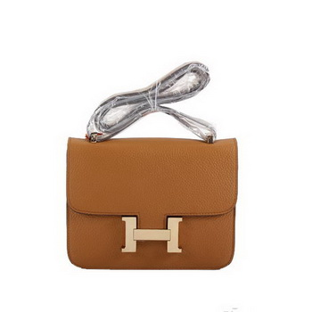 Hermes Togo Leather Constance Bag 1622S Light Coffee Golden
