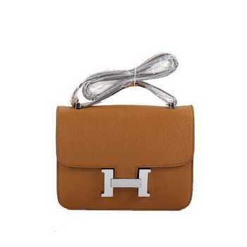 Hermes Togo Leather Constance Bag 1622S Light Coffee Silver