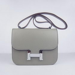 Hermes Constance Bag Khaki Oxhide Leather Silver
