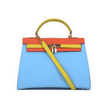 Hermes Kelly 32CM Bags Calf Leather Blue-Orange-Yellow Gold