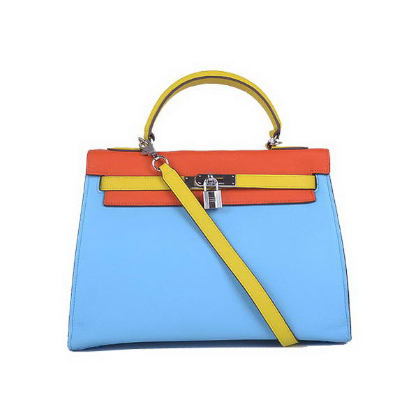 Hot products Hermes Kelly 32CM Bags Calf Leather Blue-Orange-Yellow Silver