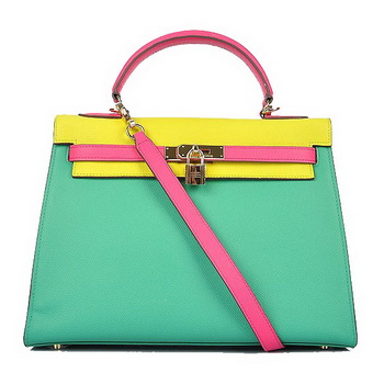 Hermes Kelly 32CM Bags Calf Leather Green-Yellow-Rosy Gold