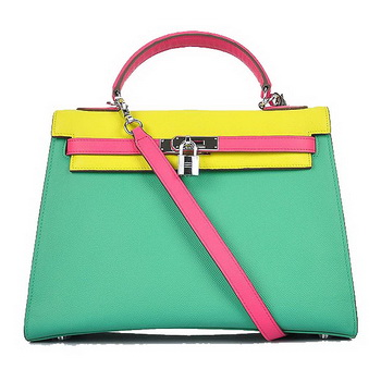 Hermes Kelly 32CM Bags Calf Leather Green-Yellow-Rosy Silver