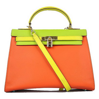 Hermes Kelly 32CM Bags Calf Leather Orange-Green-Yellow Gold