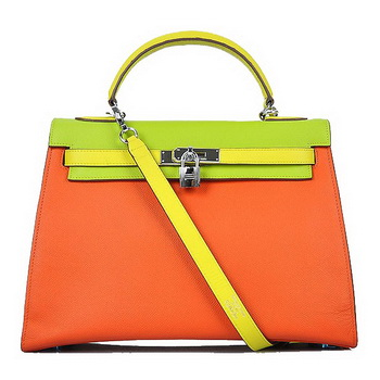 Hermes Kelly 32CM Bags Calf Leather Orange-Green-Yellow Silver