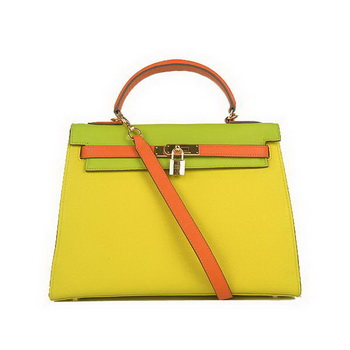 Hermes Kelly 32CM Bags Calf Leather Yellow-Green-Green Gold