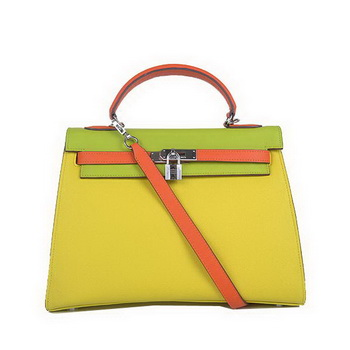 Hermes Kelly 32CM Bags Calf Leather Yellow-Green-Green Silver