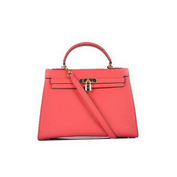Fashion Hermes Kelly 32cm Bags Light Red Calf Leather Gold