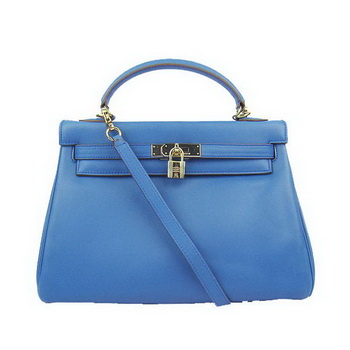 Hermes Kelly 32cm Bags Togo Leather 6108 Blue Golden