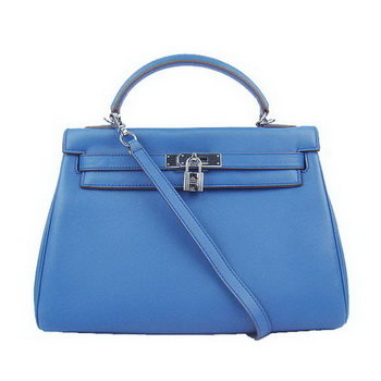 Hermes Kelly 32cm Bags Togo Leather 6108 Blue Silver