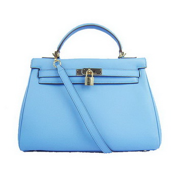 Hermes Kelly 32cm Bags Togo Leather 6108 Light Blue Golden