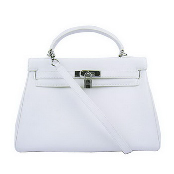 Hermes Kelly 32cm Bags Togo Leather 6108 White Silver
