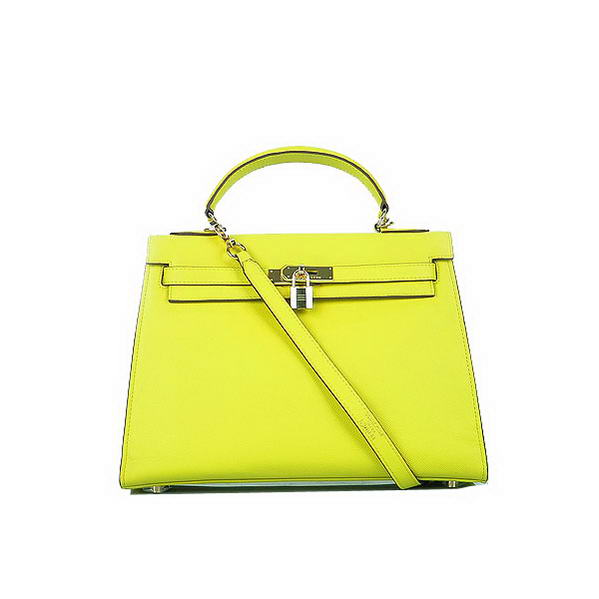 Hot Style Hermes Kelly 32cm Bags Yellow Calf Leather Gold