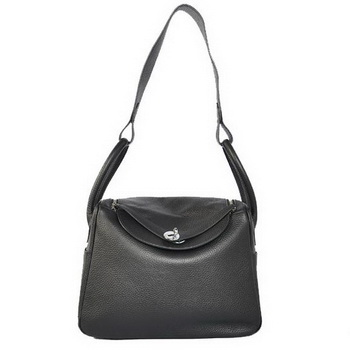 Hermes Lindy 30CM Havanne Handbags 1057 Black Leather Silver Hardware
