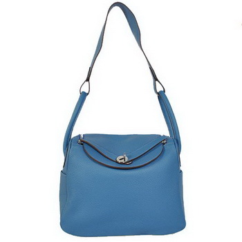 Hermes Lindy 30CM Havanne Handbags 1057 Blue Leather Silver Hardware