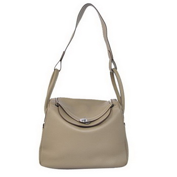Hermes Lindy 30CM Havanne Handbags 1057 Grey Leather Silver Hardware