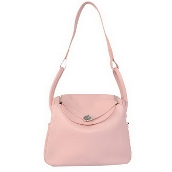 Hermes Lindy 30CM Havanne Handbags 1057 Pink Leather Silver Hardware