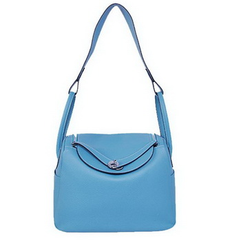 Hermes Lindy 30CM Havanne Handbags 1057 Light Blue Leather Silver Hardware