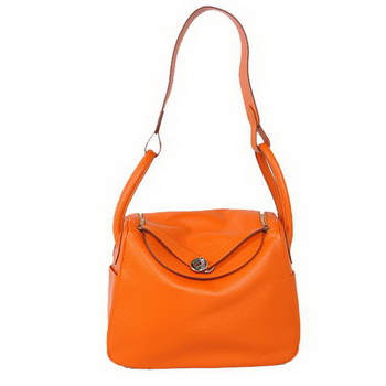 Hermes Lindy 30CM Havanne Handbags 1057 Orange Leather Silver Hardware