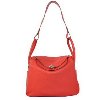 Hermes Lindy 30CM Havanne Handbags 1057 Red Leather Silver Hardware
