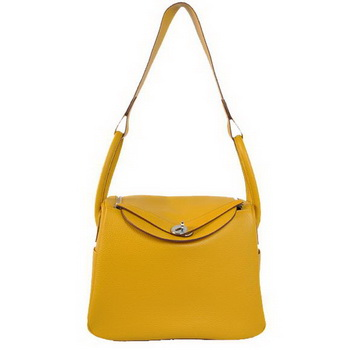 Hermes Lindy 30CM Havanne Handbags 1057 Yellow Leather Silver Hardware