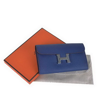 Hot products Hermes Constance Long Wallets Royalblue Calfskin Leather Silver