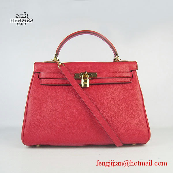 Hermes Kelly 32cm Togo Leather Bag Red 6108 Gold Hardware