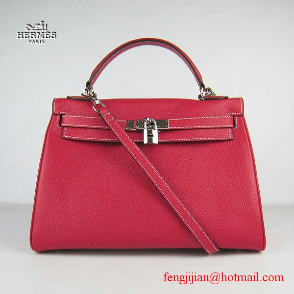 Hermes Kelly 32cm Togo Leather Bag Red 6108 Silver Hardware